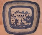 """C. 1840 CHINESE EXPORT BLUE CANTON 8 3/4"""" SQUARE SERVER"""