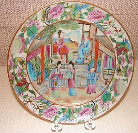 C. 1820 CHINESE EXPORT ROSE MANDARIN PLATE 7 3/4""