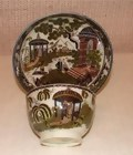 C. 1780 ENGLISH PEARLWARE ORIENTAL CUP/SAUCER
