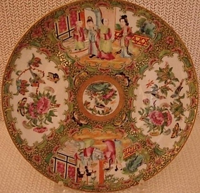 C. 1840 CHINESE EXPORT ROSE MEDALLION PLATE 9 3/4""