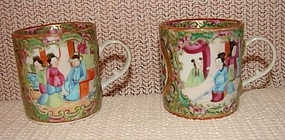C. 1840 PAIR OF CHINESE EXPORT ROSE MEDALLION MUGS