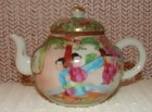 C.1890 CHINESE EXPORT ROSE MEDALLION TINY TEAPOT