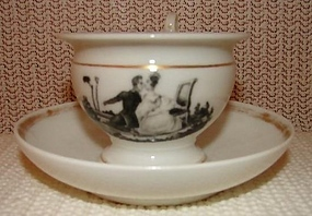 C. 1830 TUCKER PORCELAIN CUP AND SAUCER,RARE!!!