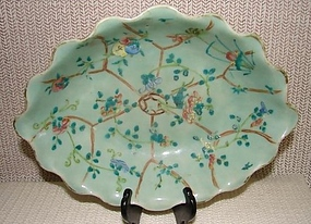 C. 1840 CHINESE EXPORT OVAL CELADON SERVING PIECE