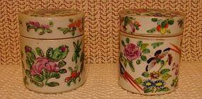 C. 1880 CHINESE EXPORT ROSE CANTON PAIR DRESSING JARS