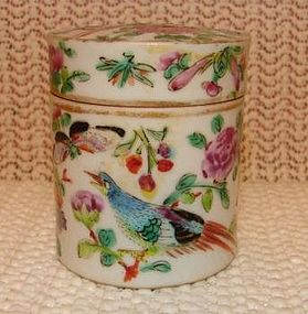 C.1870 CHINESE EXPORT ROSE CANTON DRESSING JAR W/BIRDS