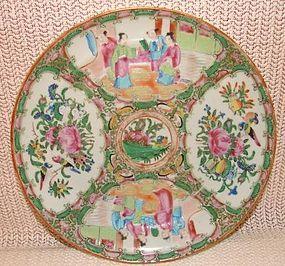 C. 1860 CHINESE EXPORT ROSE MEDALLION DINNER PLATE