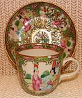 C. 1860 CHINESE EXPORT ROSE MEDALLION DEMI CUP/SAUCER