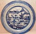 "C. 1890 BLUE CANTON DINNER PLATES 9 3/4"" DIAMETER"