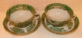 C. 1900 CHINESE EXPORT FITZHUGH GREEN CUP AND SAUCER