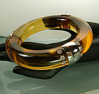 French Deco Apple Juice Bakelite Chrome Strass Bracelet