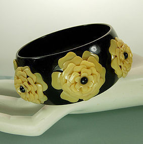 1950 Black Cream Celluloid Bangle with Applied Flowers