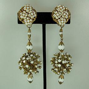 Statement 50s Long Glass Stones Beads Filigree Earrings