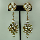 Statement 50s Long Glass Stones Beads Filigree Earrings