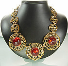 Very Big YSL Yves Saint Laurent Necklace Red Cabochons