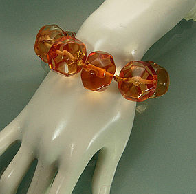 70s Ugo Correani Watery Amber Lucite Jeweled Bracelet