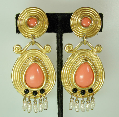 1970s Etruscan Signed Craft Earrings: Faux Coral Pearls