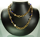 Signed Chanel 35 in. Blue Gripoix Glass Strass Necklace