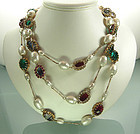 1960s 64 Inch Jeweled, Pearls French Sautoir Necklace