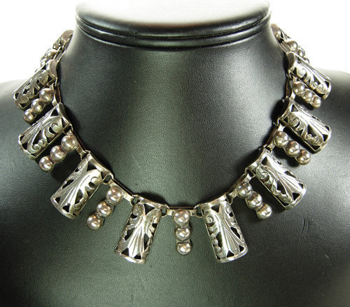 E BARENA Taxco Mexico Silver Bib Necklace Listed Mark