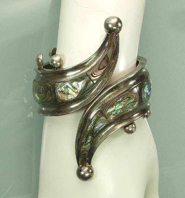 Mexican Silver Abalone Clamper Bracelet: SHG Taxco