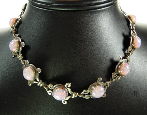 Emma Melendez Taxco Mexico Silver Glass Opal Necklace