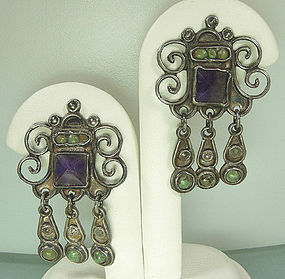Signed MATL Mexico Silver Amethyst Turquoise Earrings