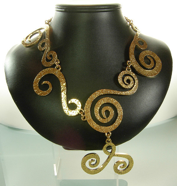 1970 Signed Chanel Barbaric Style Drop Collar Necklace