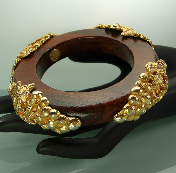 Dominique Aurientis Goldtone Metal Mounted Wood Bangle