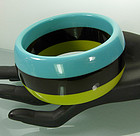 1970 Laminated Lucite Turquoise Chartreuse Black Bangle