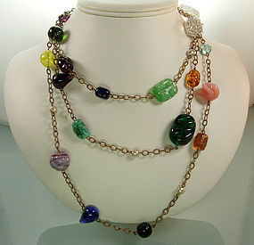 French 60 Inch Sautoir Necklace Gripoix Glass Beads