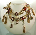 60s Unsigned Schreiner Belt  Necklace Huge Topaz Stones