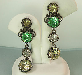 60s French Drop Earrings Brilliant Green Lemon Crystals