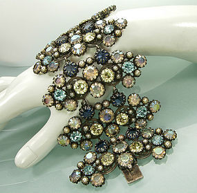 Spectacular C 1960 French Couture Bracelet Blue Stones