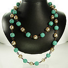 60 French Turquoise Poured Glass Pearl Sautoir Necklace