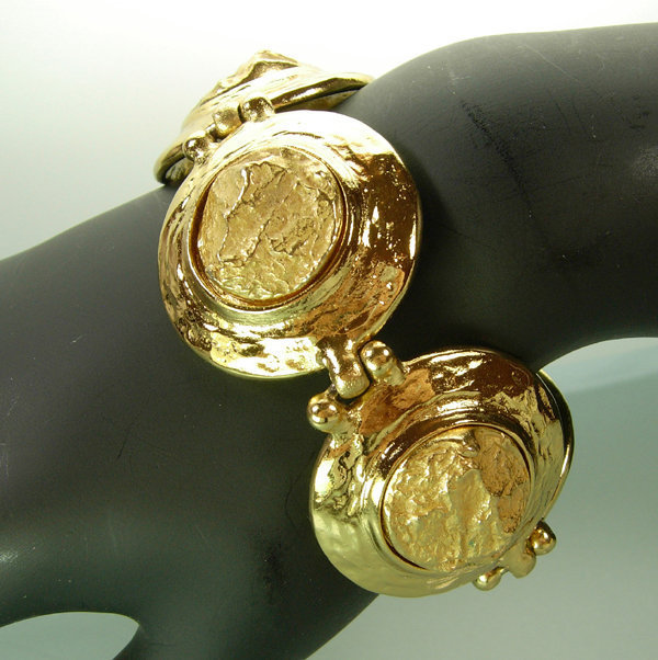 1970s Yves Saint Laurent Molten Gold Statement Bracelet
