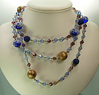 C 1950 French Violet Blue Glass Long Sautoir Necklace