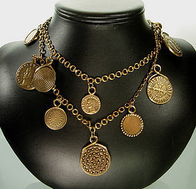 1980 Yves Saint Laurent Byzantine Coin Sautoir Necklace