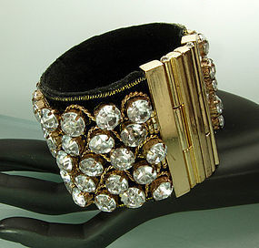 French Lina Baretti Style Suede Strass Huge Bracelet