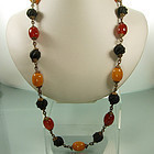 Honey Butterscotch Amber Bakelite Wood Necklace: FRANCE