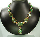 1980 Yves Saint Laurent YSL Faux Peridot Drop Necklace