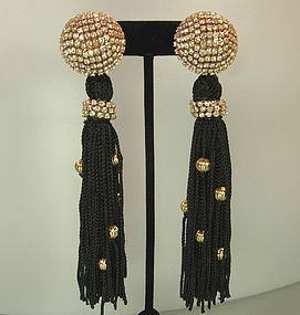 80s Simone Edouard Passementerie Strass Long Earrings