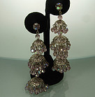 60s Huge Alexandrite Glass Filigree Moghul Earrings