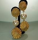 Huge Statement 1980s Shell Form Pearl Drop Earrings