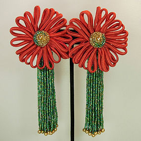 Yves Saint Laurent Huge Glass, Passementerie Earrings