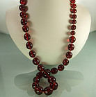 1930 Genuine Cherry Amber Necklace Large Round Beads