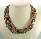 Glass Faux Turquoise Lapis Coral Bead Torsade Necklace