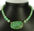 C 1930 Chinese Jade 14KT Gold Carved Beaded Necklace