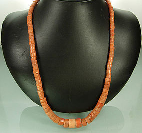 Vintage Pink Coral Large Graduated Barrel Bead Necklace