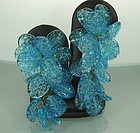 Stunning French 1950 Teal Poured Glass Wired Earrings